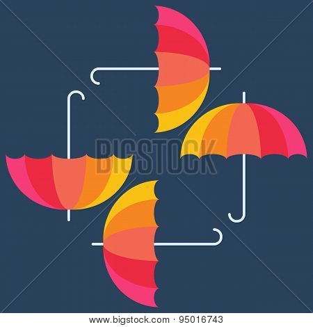 Vector umbrellas. Abstract seamless pattern design. Colorful ban