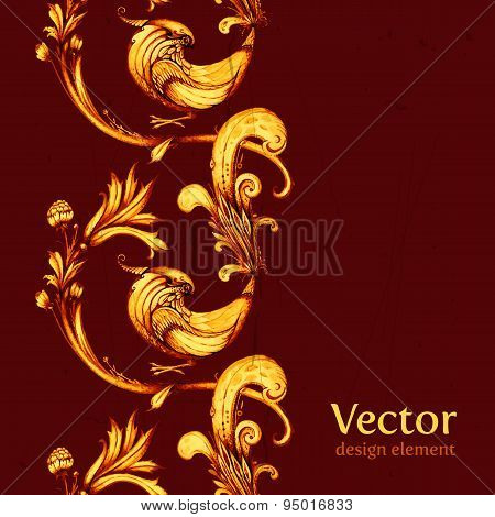 Vector birds and flowers abstract seamless pattern design. Retro