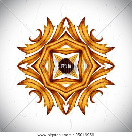 Golden ornamental pattern for wedding invitations, greeting card
