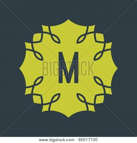 Letter M. Abstract vector background with outline icon.
