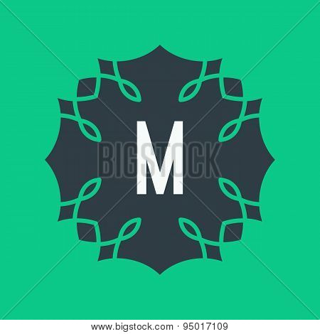 Vector graphic retro style alphabet symbol in green colors. Orna