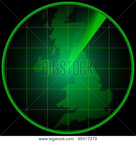 Radar Screen With The Silhouette Of The Great Britain