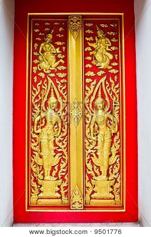Traditional Thai Style Door Of Buddhist Church