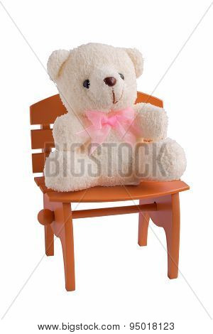 Fluffy Teddy Bear Isolated On White