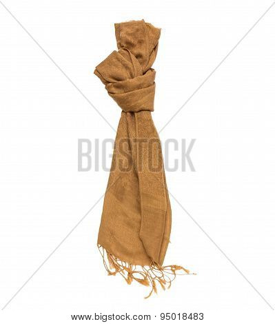 Brown Knitted Winter Scarf On A White Isolate With Clipping Paths.