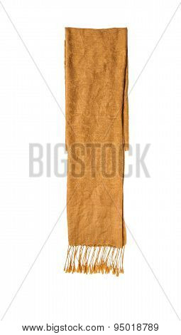 Brown Knitted Winter Scarf On A White Isolate Background.