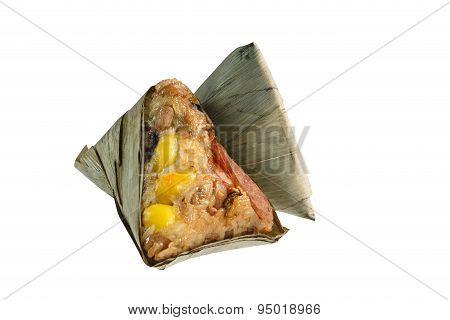 Zongzi Or Chinese Sticky Rice Dumpling On White Background.