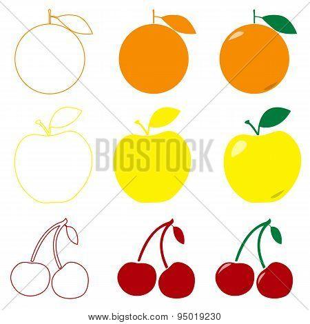 Fruit collection for children design. Apple, orange and cherry in flat style, line art logo design.