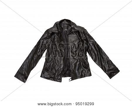 Vintage Leather Jacket On White Isolate With Clipping Path.