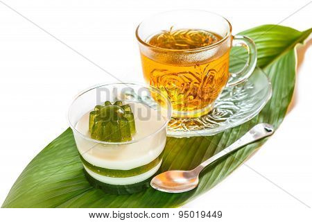 Pandan Coconut And Hot Tea.