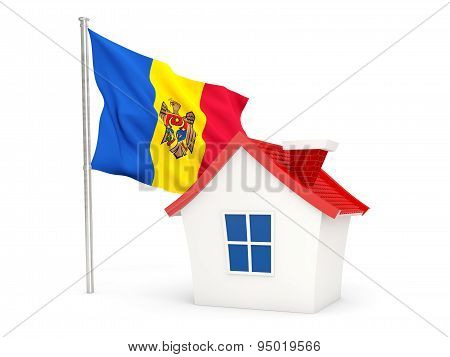House With Flag Of Moldova