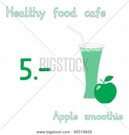 Fruit collection for design. Healthy food cafe menu layout. Apple Smoothie. Vector Illustration EPS1