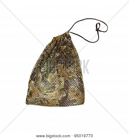 Drawstring Pack Template Jute On White Isolate With Clipping Path.