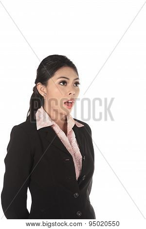 Asian Business Woman Shout