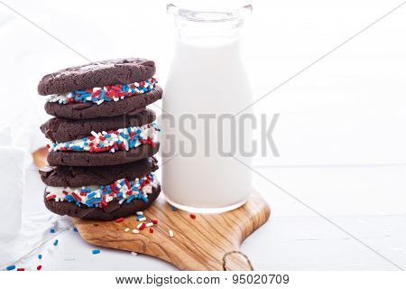 Chocolate sandwich cookies with creamy filling