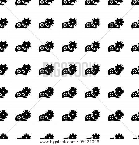 Medic Hat With Mirror Seamless Pattern. Vector
