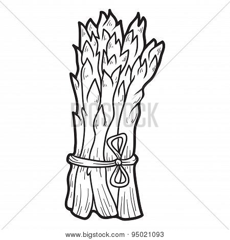 Coloring Book: Fruits And Vegetables (asparagus)