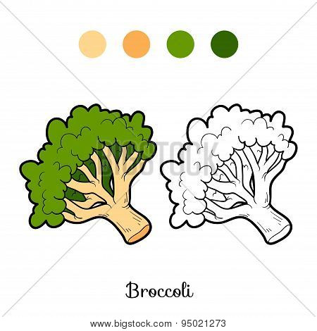 Coloring Book: Fruits And Vegetables (broccoli)