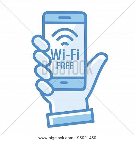 Wi-Fi free icon. Wi-Fi zone icon with phone in hand linear flat vector illustration