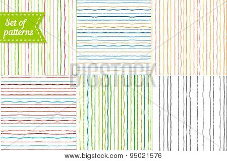 Set of colored backgrounds with stripes. Seamless striped pattern with hand painted brush strokes. V