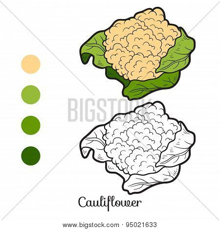 Coloring Book: Fruits And Vegetables (cauliflower)