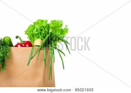Grocery shop bag with vegetables, salad, bread and other groceries isolated