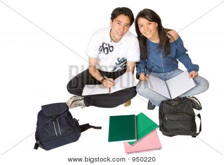 Students Studying On The Floor