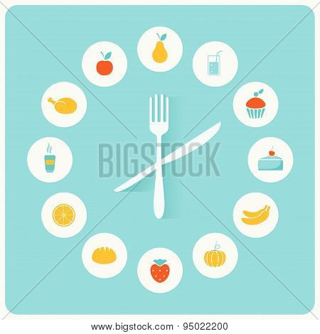 Food Icons Infographic Clock. Flat Design. Fitness, Diet and Calorie Counter Concept