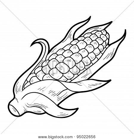 Coloring Book Fruits And Vegetables Corn