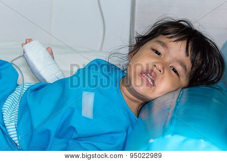 Illness Asian Kids Crying, Asleep On A Sickbed In Hospital, Saline Intravenous (iv) On Hand