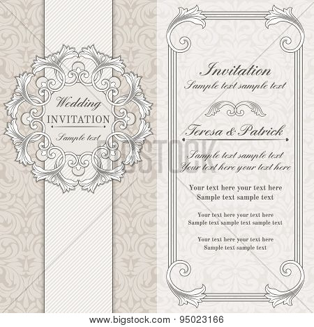 Baroque wedding invitation, grey and beige