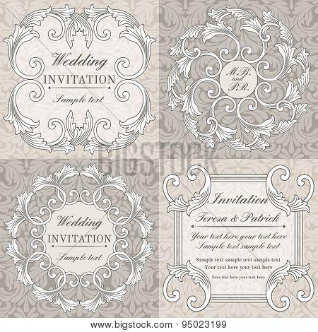 Baroque wedding invitation set, grey and beige