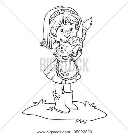 Coloring Book (little Girl With Cute Cat)