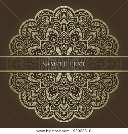 Invitation card with mandala, brown and gold