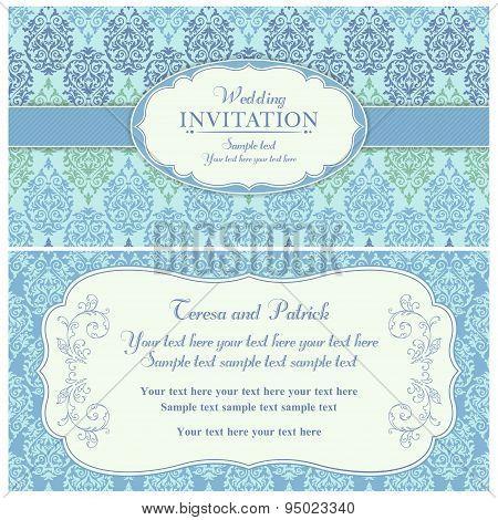 Baroque wedding invitation, blue and green