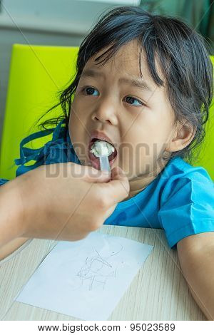 Illness Asian Kids Eating Cereal, Saline Intravenous (iv) On Hand