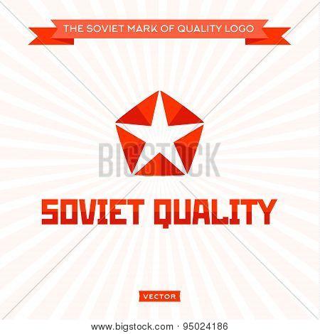 Star logo arrow Soviet quality, icon, sign, vector illustration