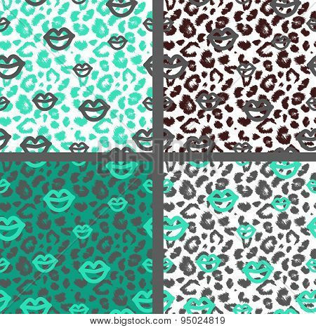 Set leopard print pattern. Set tiger print pattern. Set jaguar print textures.