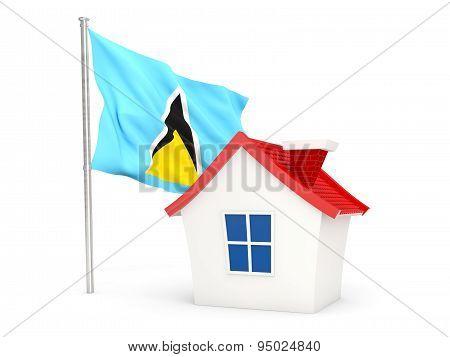 House With Flag Of Saint Lucia
