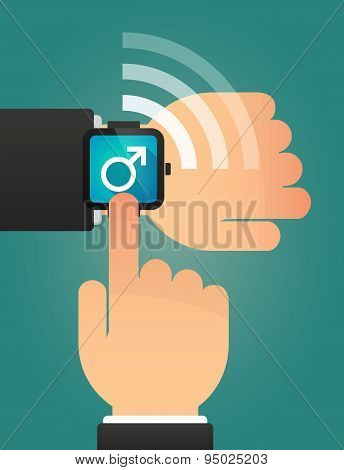 Hand Pointing A Smart Watch With A Male Sign
