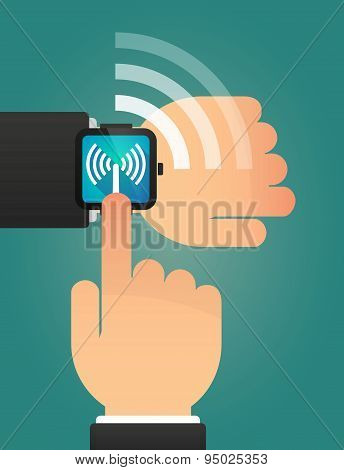 Hand Pointing A Smart Watch With An Antenna
