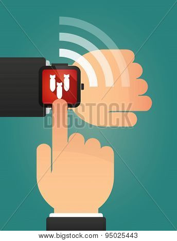 Hand Pointing A Smart Watch With Bombs