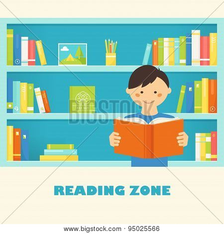 Boy Reading a Book against Library Bookshelves with Books