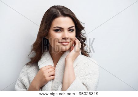 Cheerful young girl is  after fresh shower
