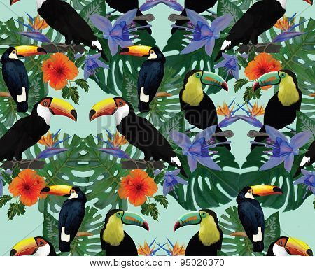 Seamless pattern with toucans. Hand drawn vector.