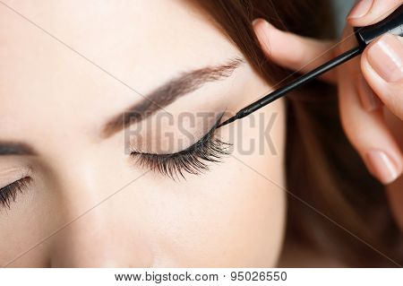 Pretty young woman is doing her make-up