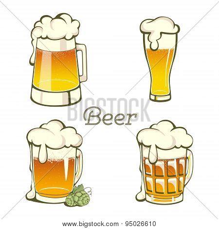 Set Of  Vintage Beer In Glass And Mug.