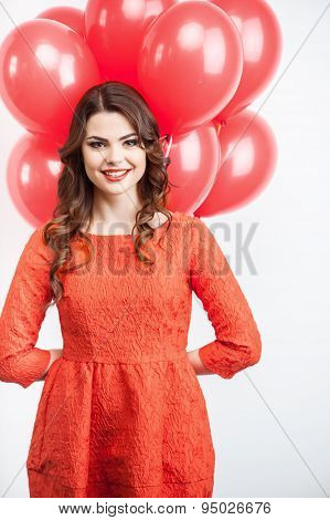 Beautiful young girl is celebrating on party