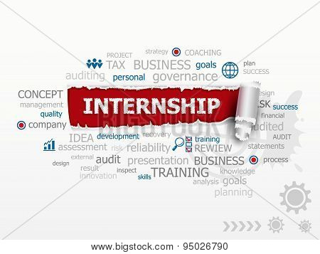 Internship - Career Issues And Concepts Word Cloud Illustration.