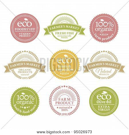 Collection of 6 badges in retro style